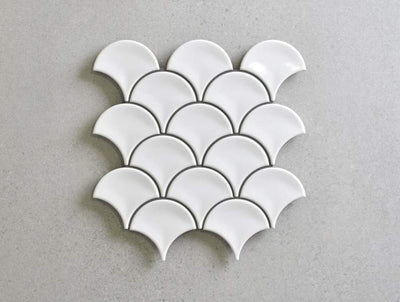 Coral Bay Gloss White Fish Scale Tile