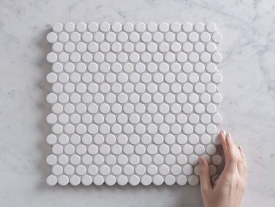Broadwater White Gloss Penny Round Mosaic Tile