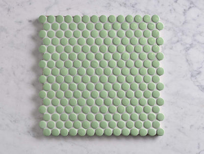 Broadwater Green Gloss Penny Round Mosaic Tile