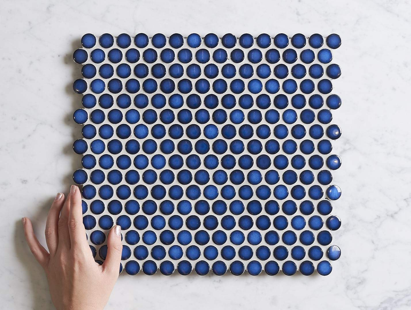 Broadwater Cobalt Blue Gloss Penny Round Mosaic Tile