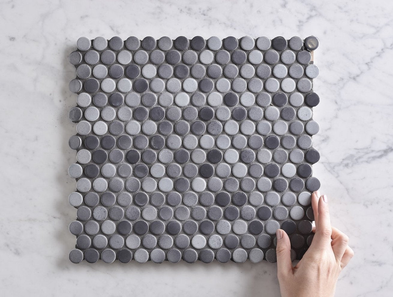 Broadwater Grey Mix Gloss Penny Round Mosaic Tile