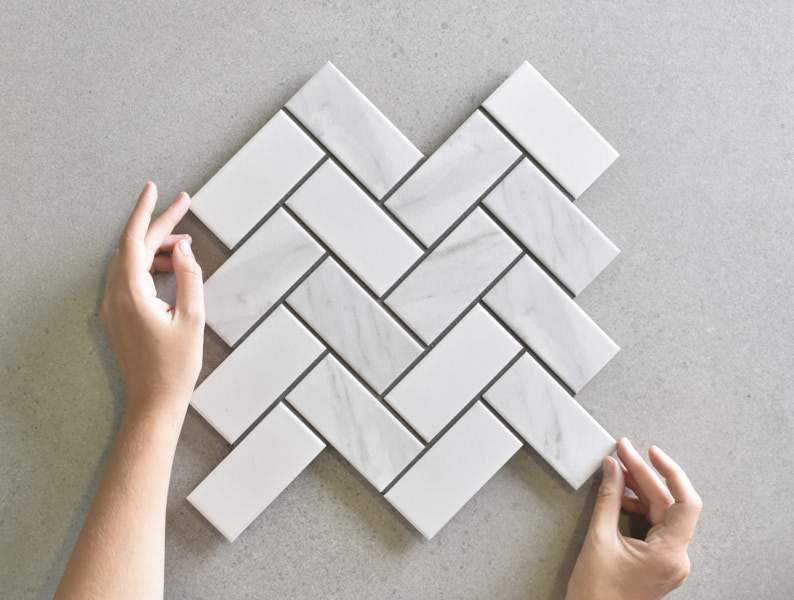Tully Heads Carrara Matt Herringbone Tile