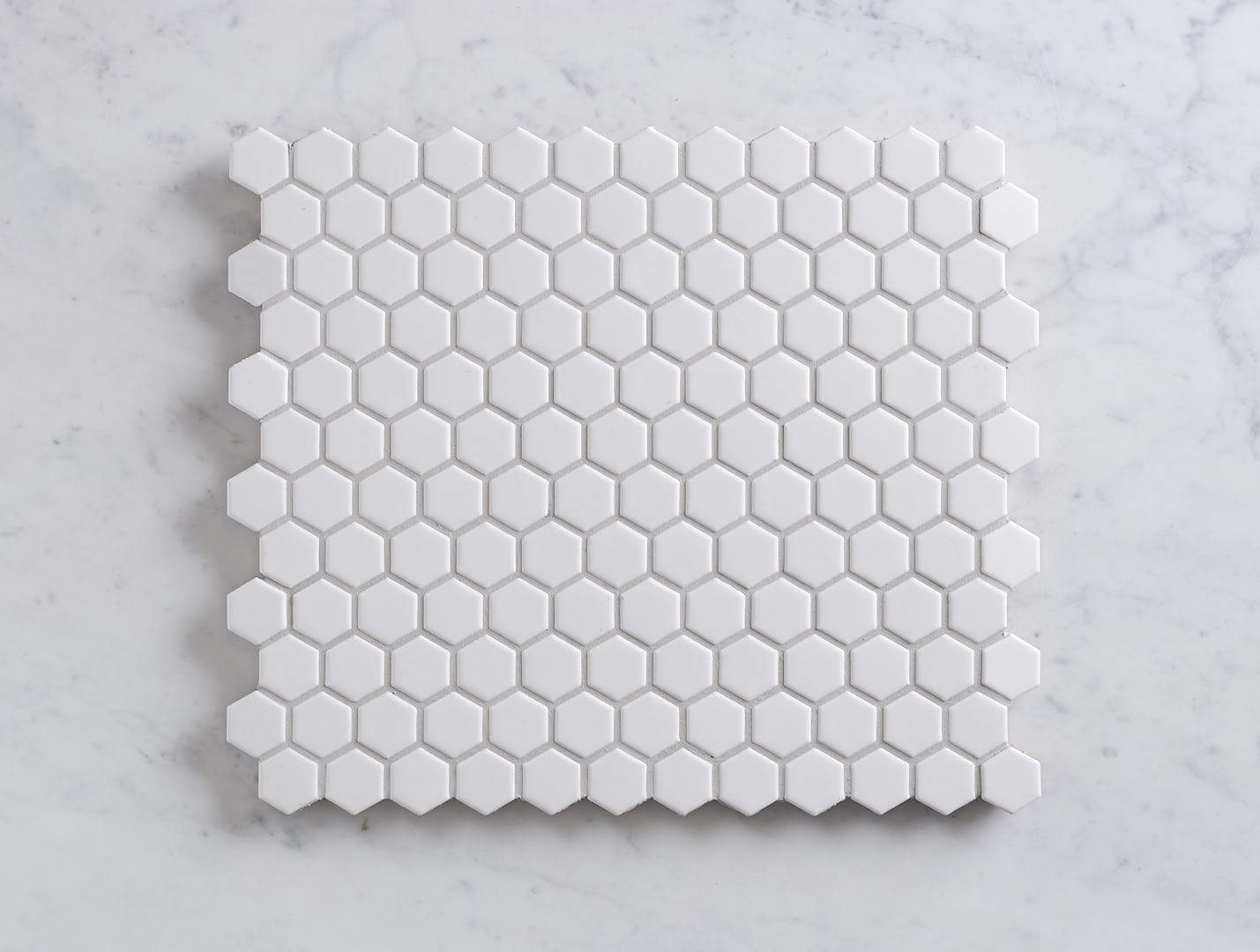 Peppermint Grove Small White Matt Hexagon Mosaic
