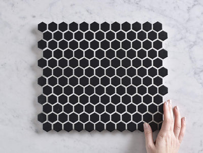 Peppermint Grove Small Black Matt Hexagon Mosaic