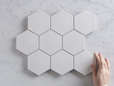 Meadow Springs Matt White Hexagon Mosaic Tile