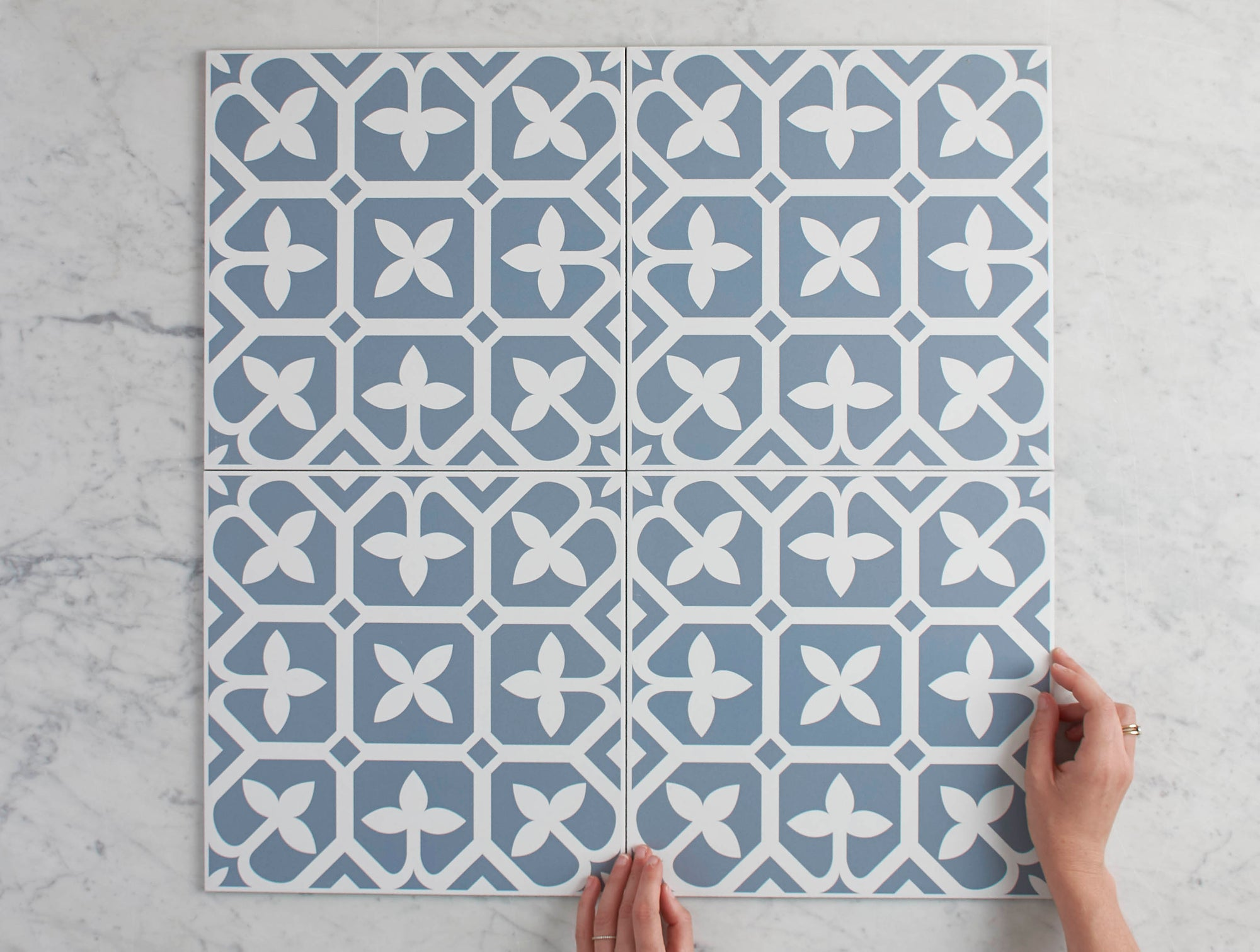 Palm Beach Blue Encaustic Look Tile