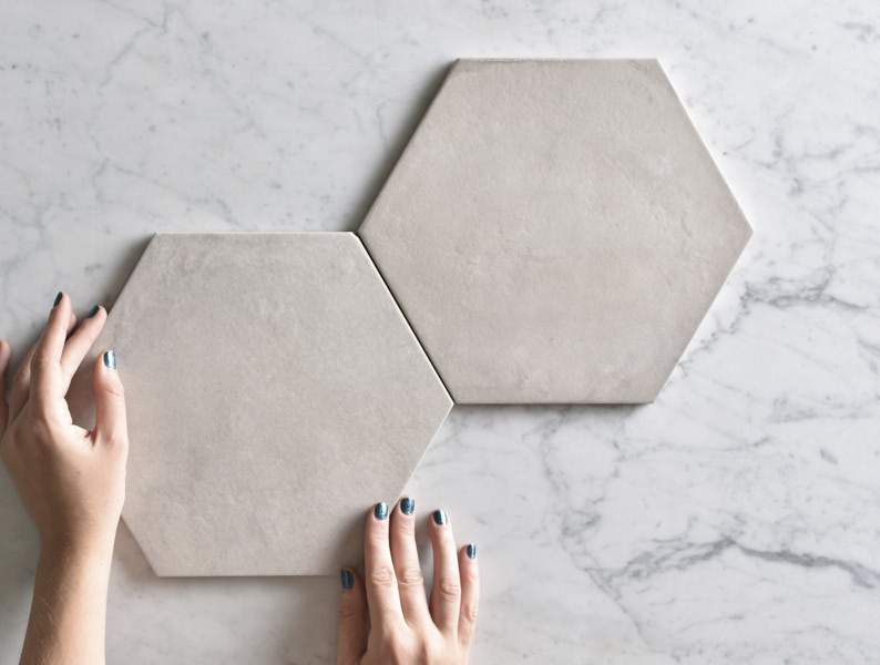 Ocean Beach White Encaustic Look Hexagon Tile