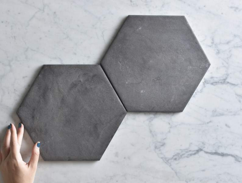 Brighton Beach Black Encaustic Look Hexagon Tile