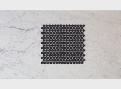 Broadwater Black Gloss Penny Round Mosaic Tile