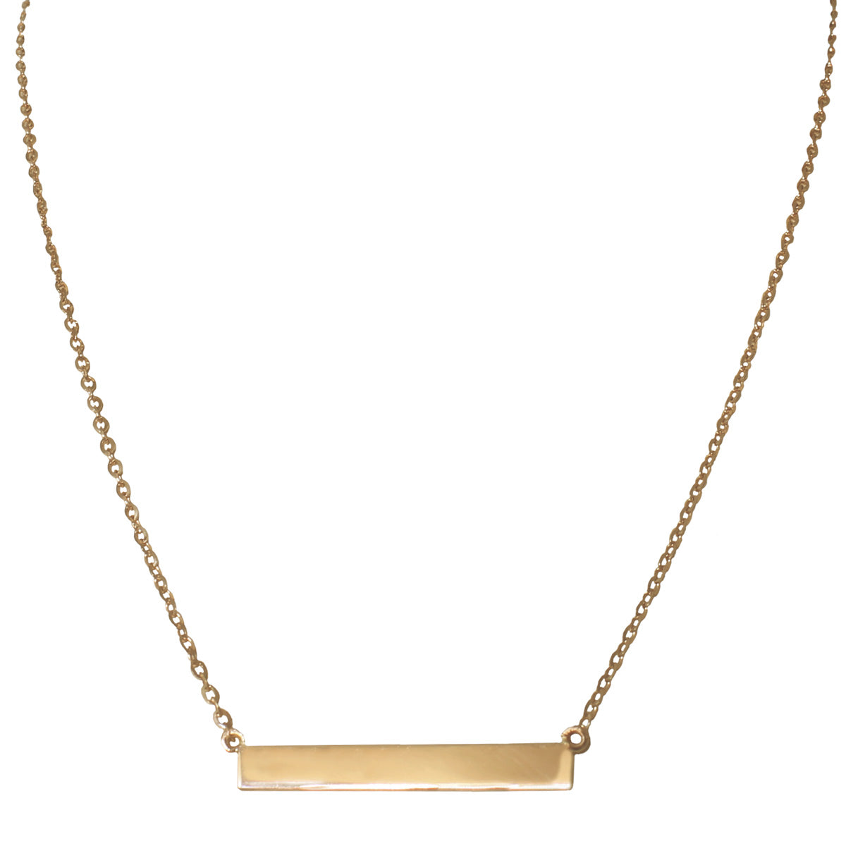 Yellow gold bar necklace by Jessica Jewellery.