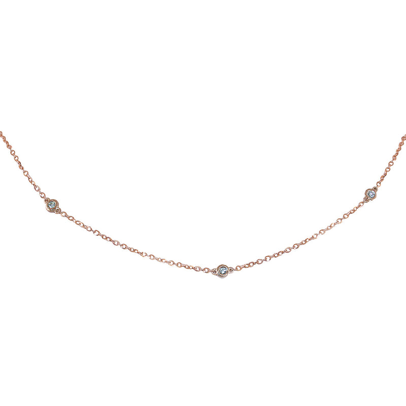 Jessica Jewellery rose gold diamond by the yard necklace.