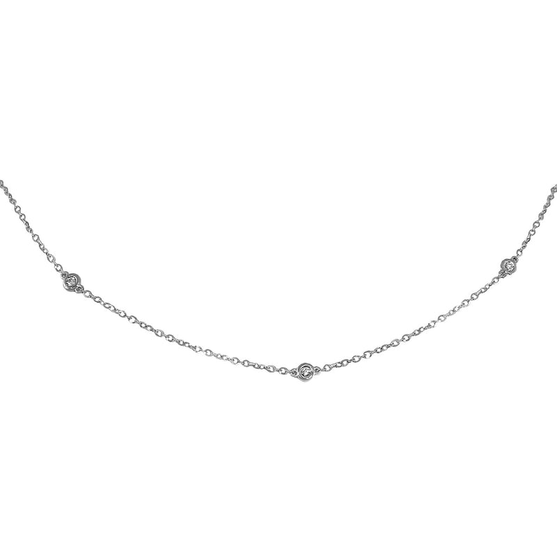 Jessica Jewellery white gold diamond by the yard necklace.