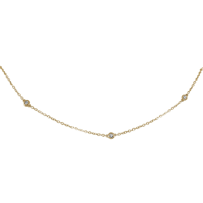Jessica Jewellery yellow gold diamond by the yard necklace.