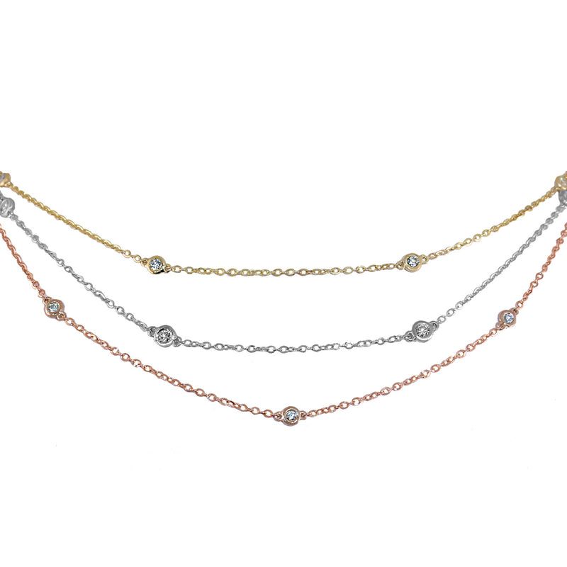 Jessica Jewellery diamond by the yard necklaces in white, yellow and rose gold.