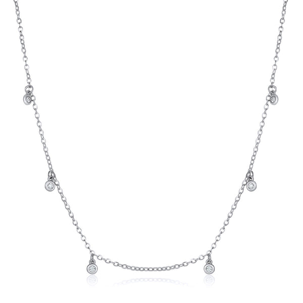 White gold dangling diamond by the yard necklace by Jessica Jewellery.
