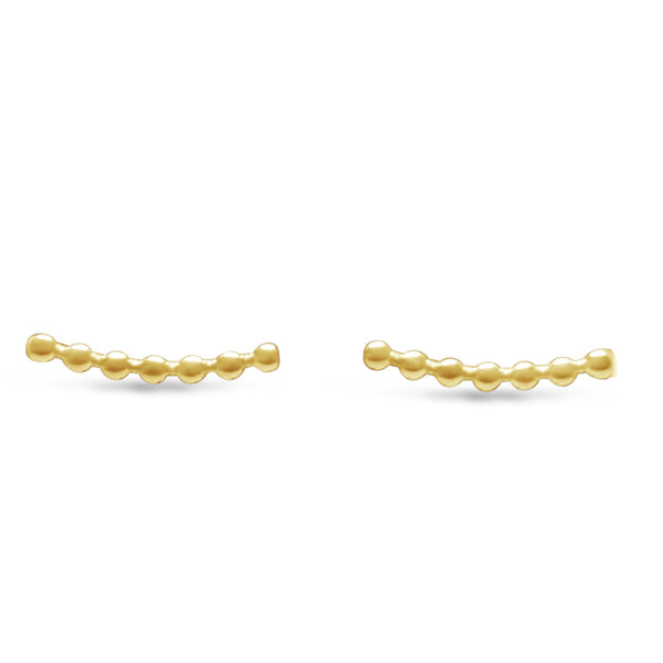 Gold Bead Crawler Earrings
