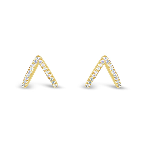 Diamond Chevron Huggie Earrings