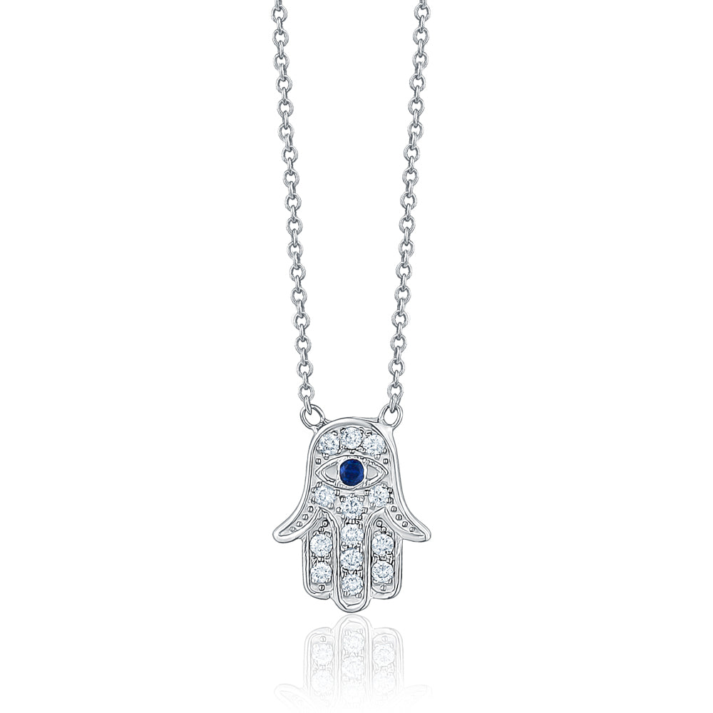 Diamond and Sapphire Hamsa Necklace
