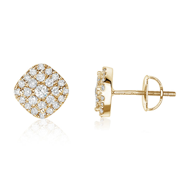 Yellow gold cushion diamond cluster studs by Jessica Jewellery.
