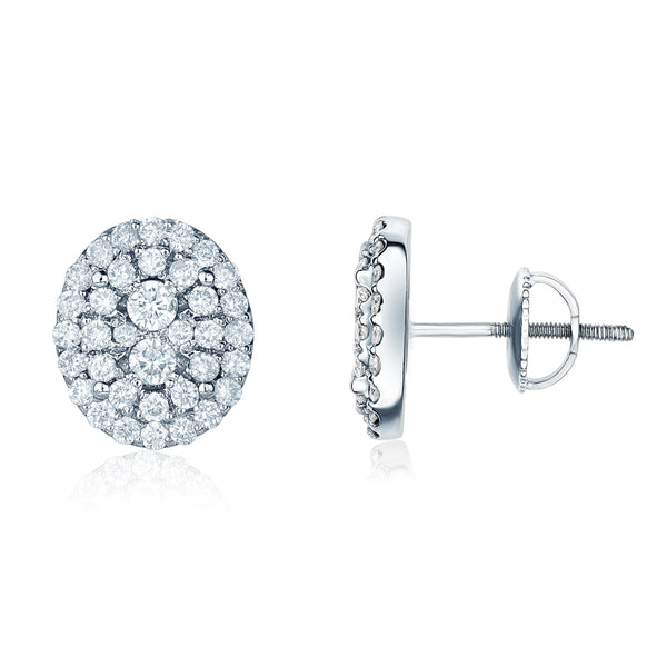 Jessica Jewellery white gold oval diamond cluster stud earrings.