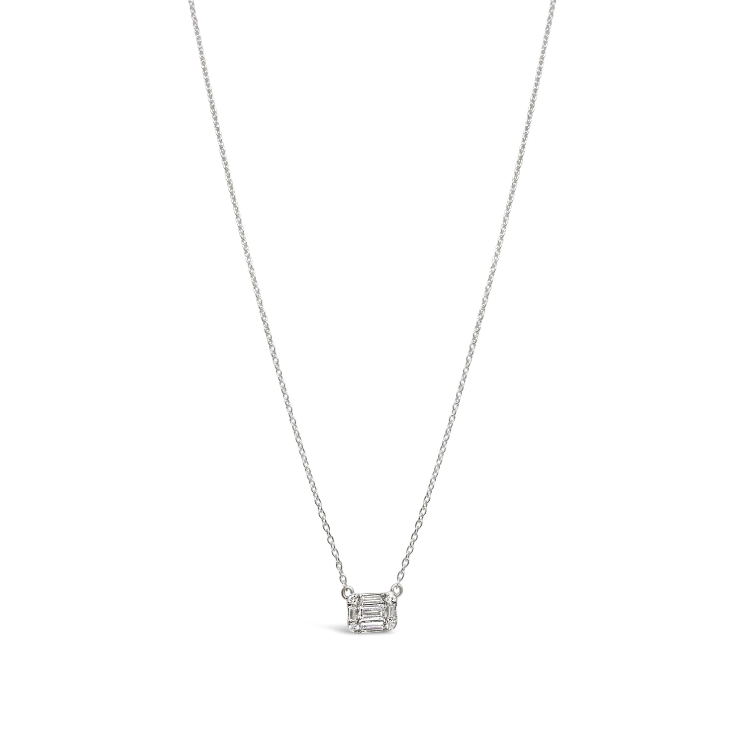 Round and Baguette Diamond Pendant Necklace