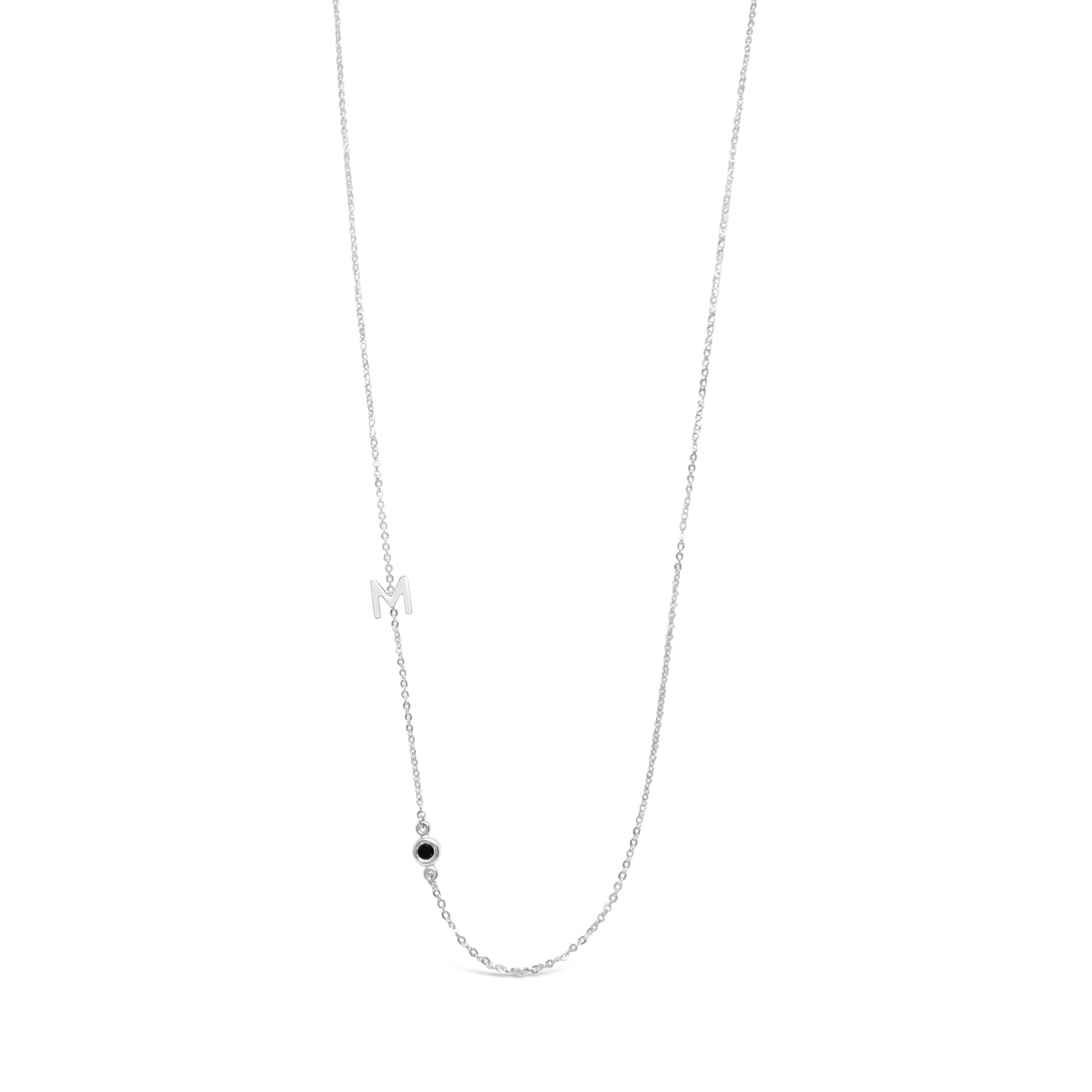 Black Diamond and Initial Necklace