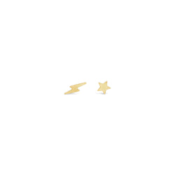 Star and Lightening Stud Earrings