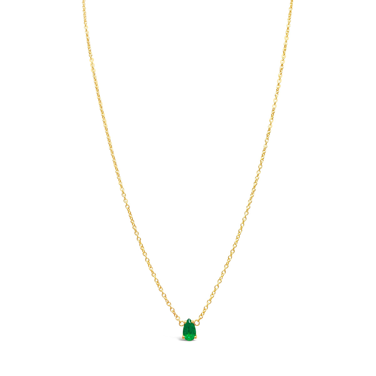 Floating Emerald Teardrop Solitaire Necklace