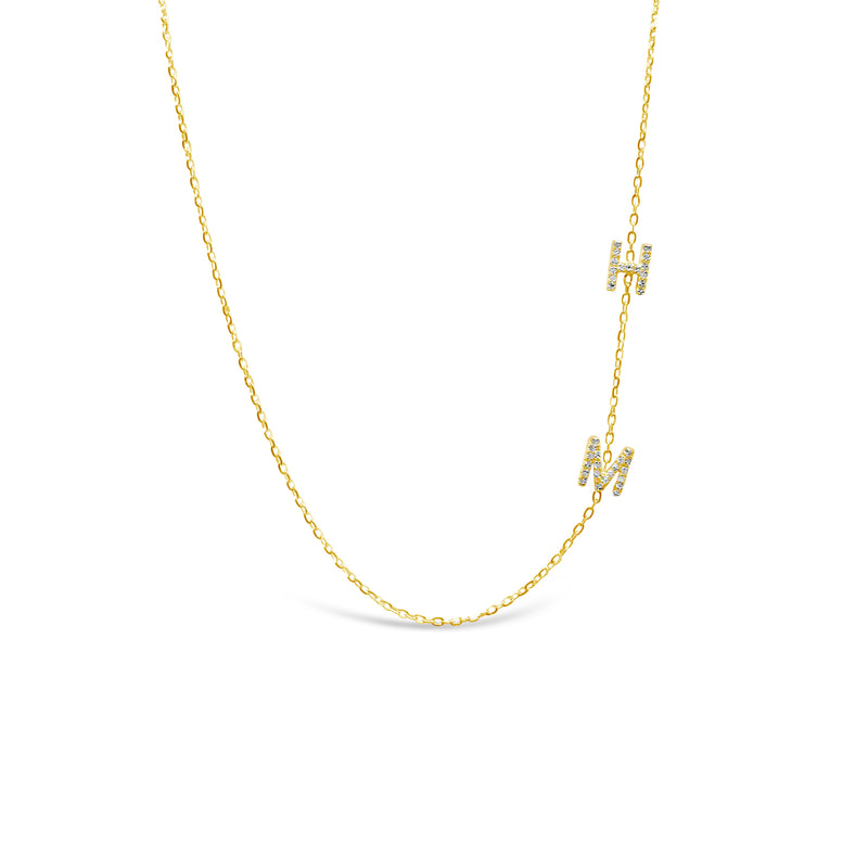 Double Diamond Initial Necklace