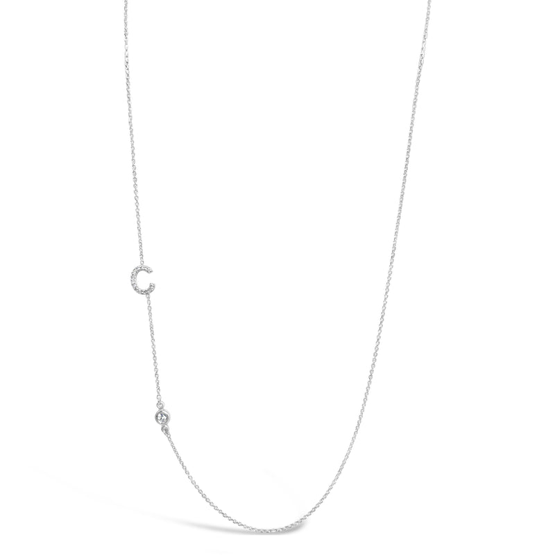 Diamond Initial and Diamond Bezel Necklace
