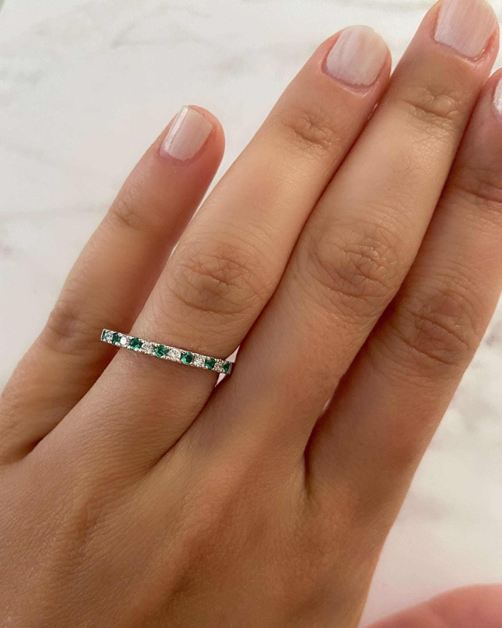 2mm Diamond and Emerald Pavé Ring