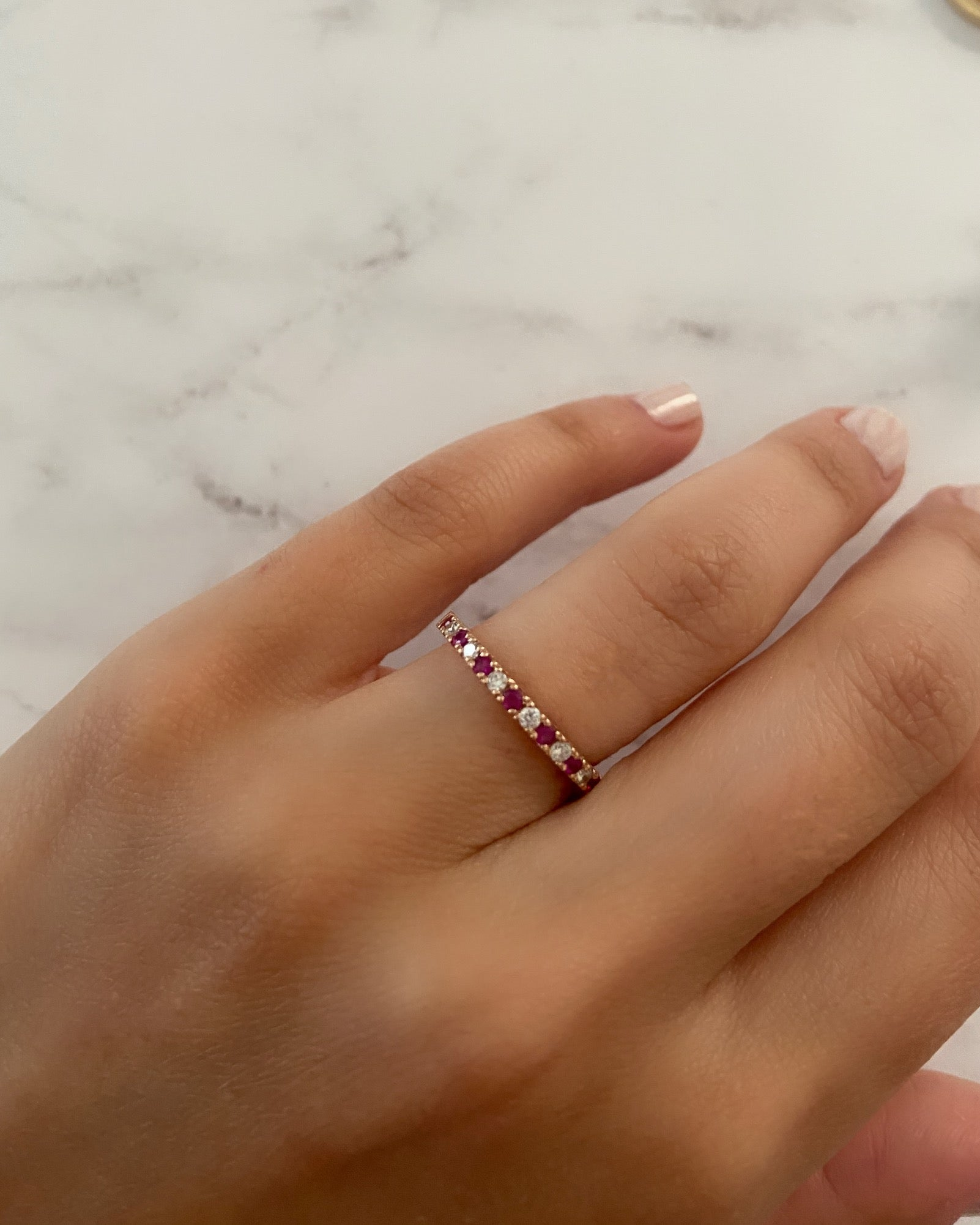 2mm Diamond and Ruby Pavé Ring