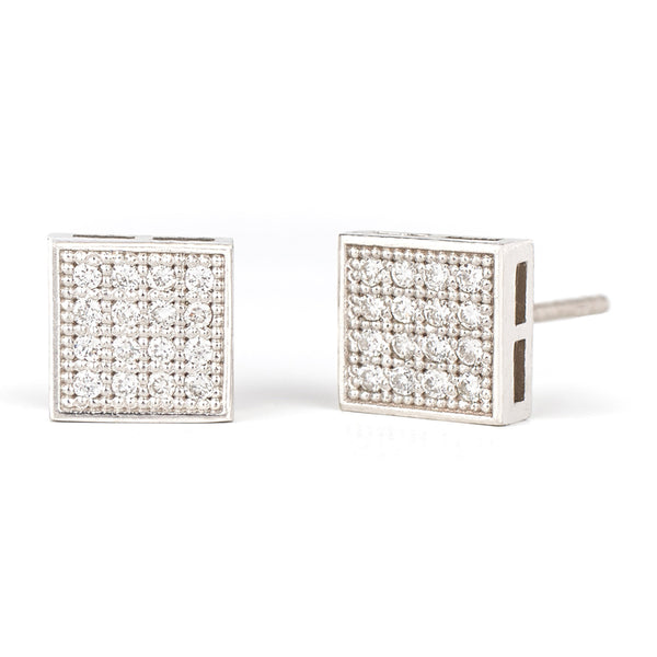 Jessica Jewellery white gold square diamond cluster stud earrings.