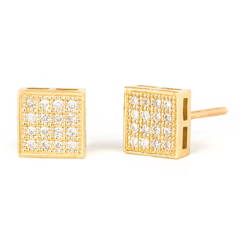 Jessica Jewellery yellow gold square diamond cluster stud earrings.