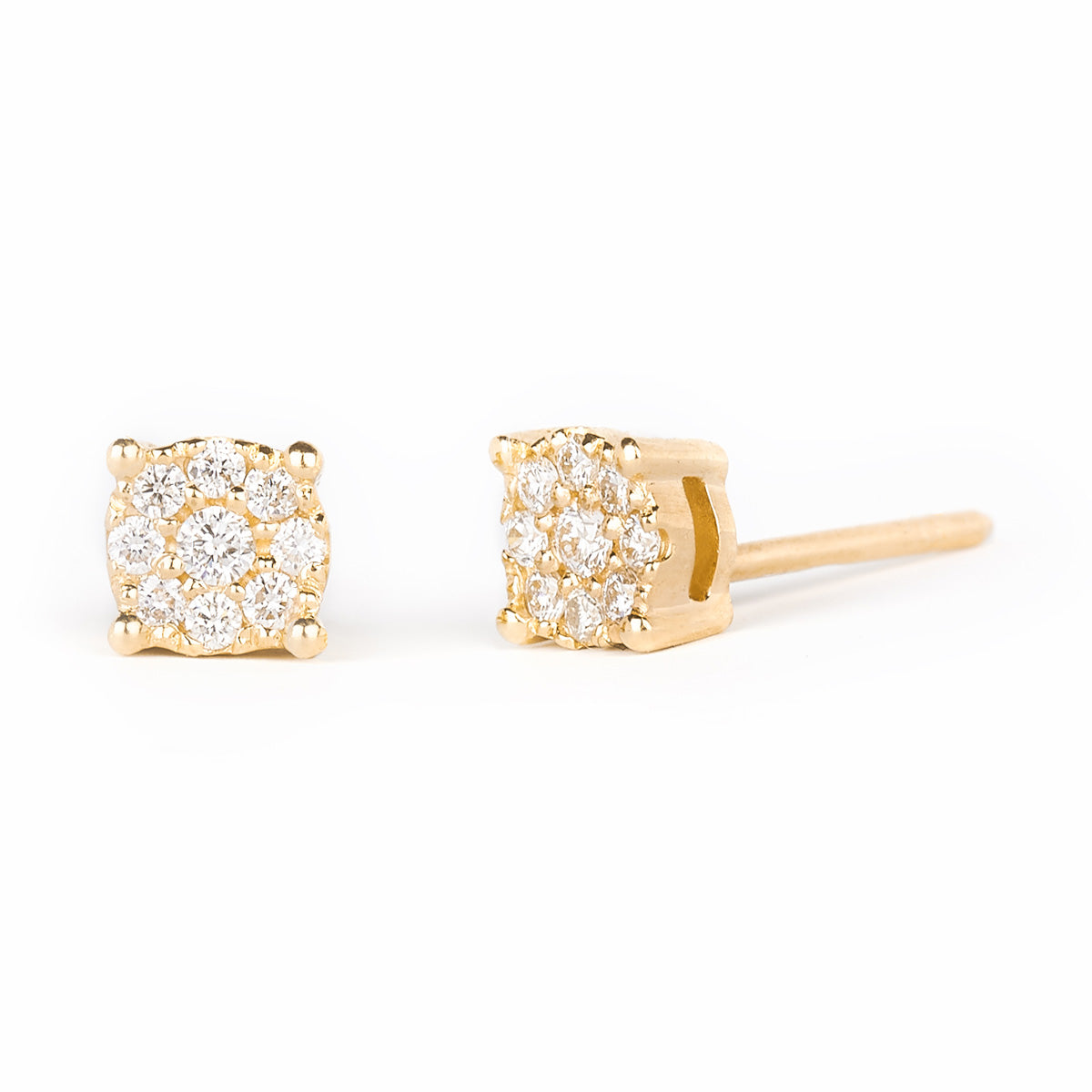Jessica Jewellery yellow gold round diamond cluster stud earrings.