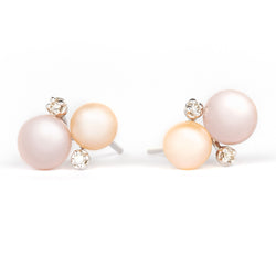 Jessica Jewellery grey pearl and diamond stud earrings.