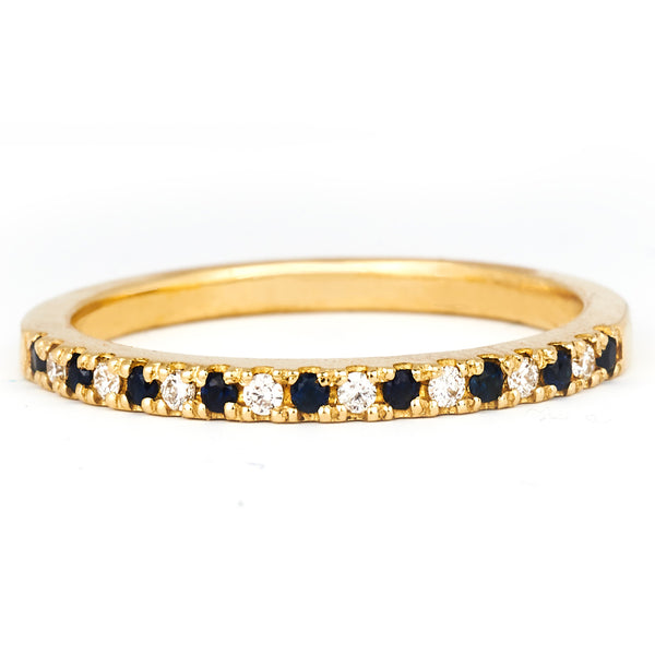 Jessica Jewellery yellow gold diamond and sapphire pavé ring.