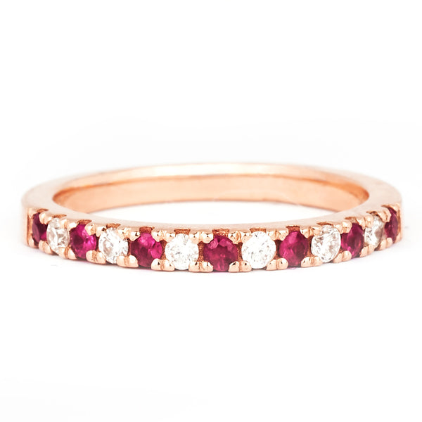Rose gold, diamond and ruby pavé ring by Jessica Jewellery.
