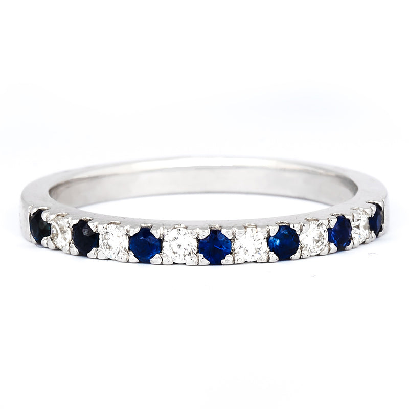 Jessica Jewellery white gold diamond and sapphire pavé ring.