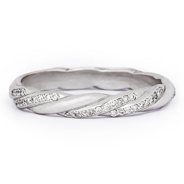 Jessica Jewellery white gold twisted diamond ring.
