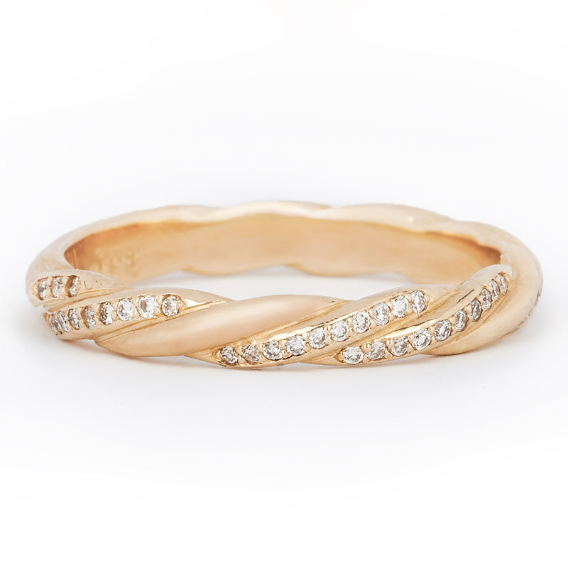 Jessica Jewellery yellow gold twisted diamond ring.