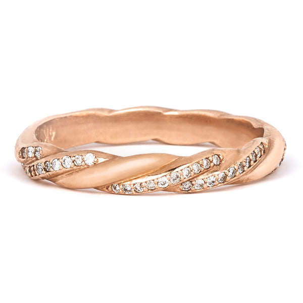 Jessica Jewellery rose gold twisted diamond ring.