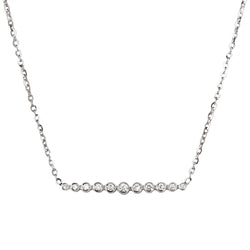 White gold bezel set diamond bar necklace by Jessica Jewellery.