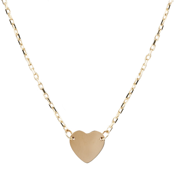 Jessica Jewellery yellow gold mini heart pendant necklace.