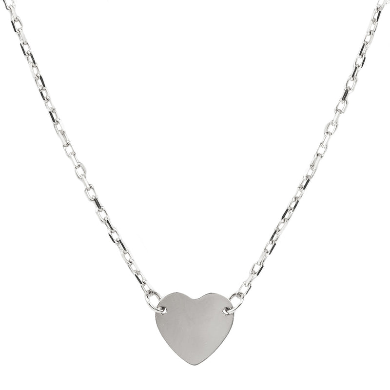 Jessica Jewellery white gold mini heart pendant necklace.