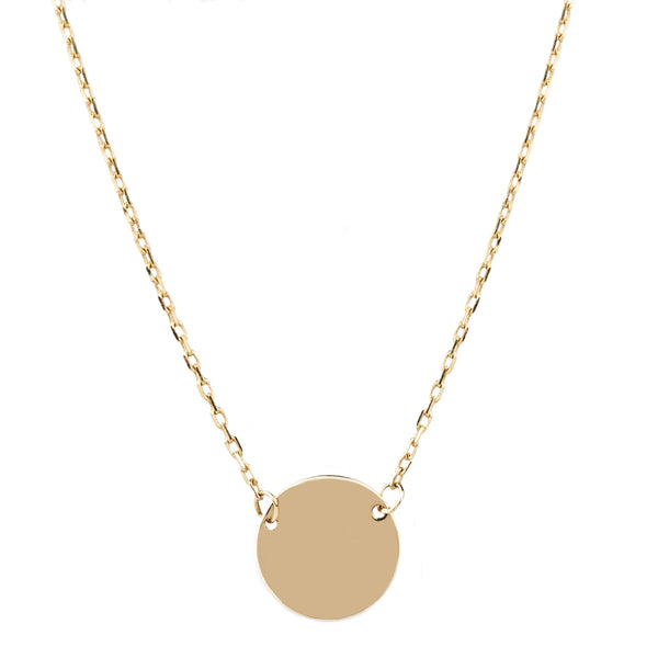 Jessica Jewellery yellow gold mini disc necklace.