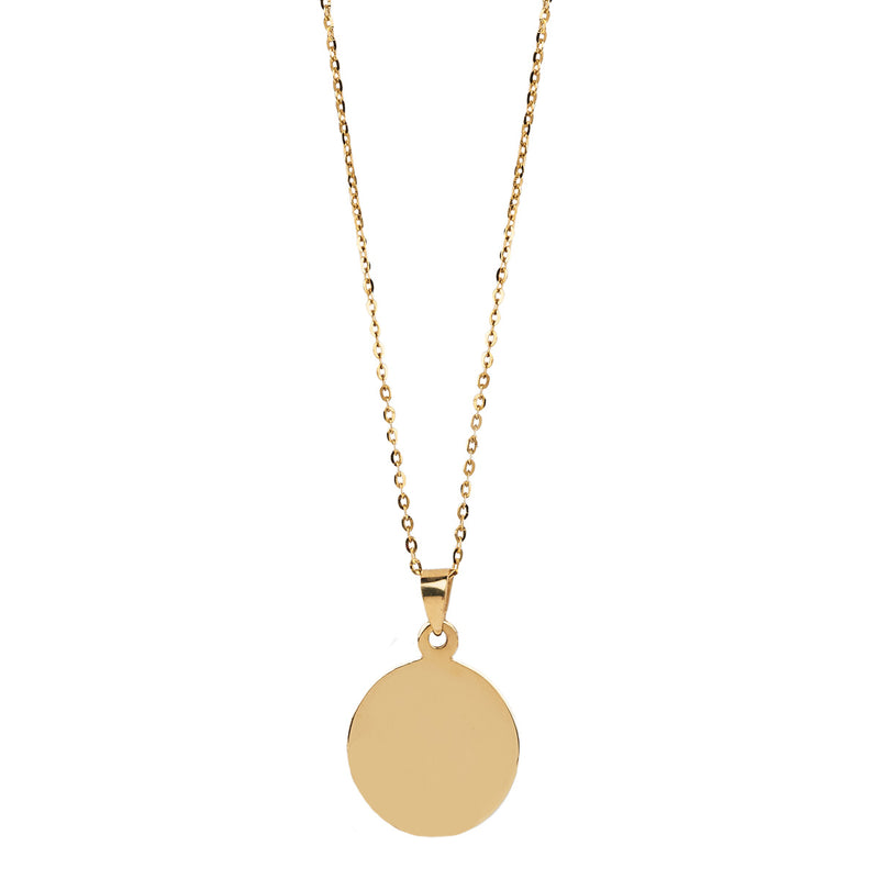 Jessica Jewellery gold disc necklace.