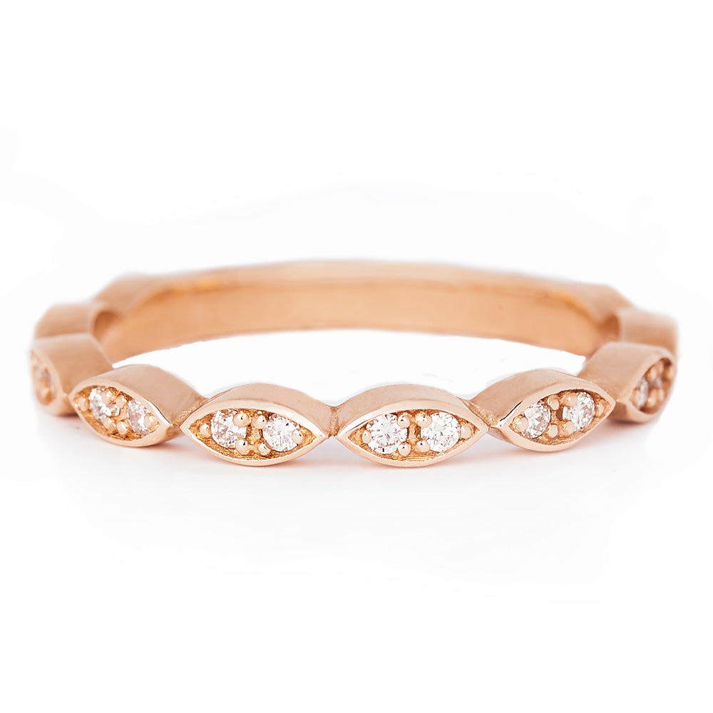 Jessica Jewellery rose gold diamond leaf ring.