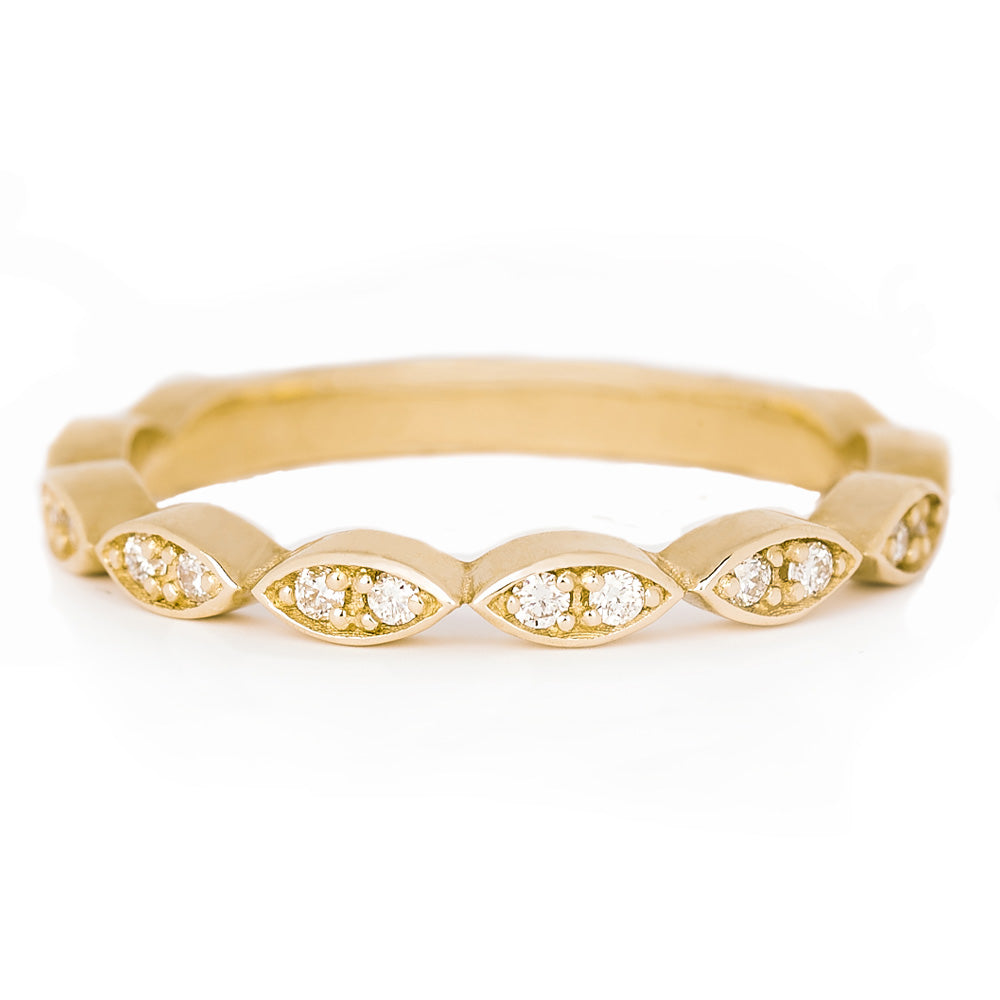 Jessica Jewellery yellow gold diamond leaf ring.