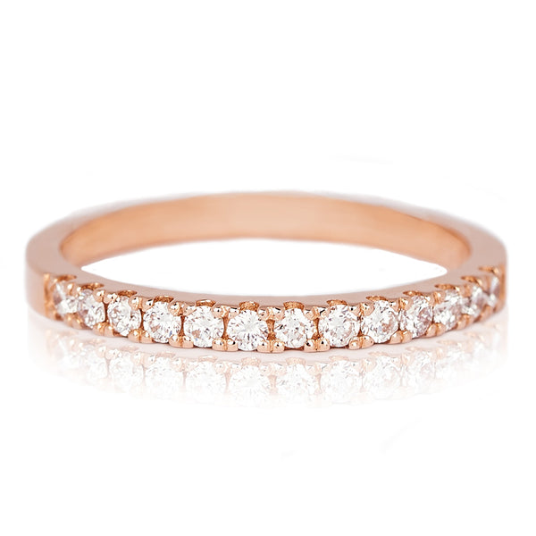 Jessica Jewellery rose gold pavé-set half diamond ring.
